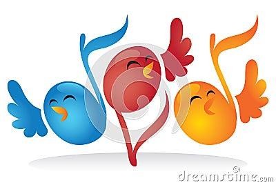 Pájaros de la nota musical del canto
