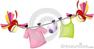 Pájaros lindos con la cuerda para tender la ropa