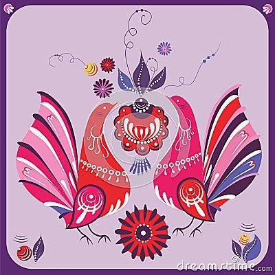 Pájaros rusos del color de rosa del estilo
