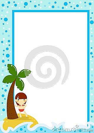 Plażowej dziewczyny mała palmowa pocztówka