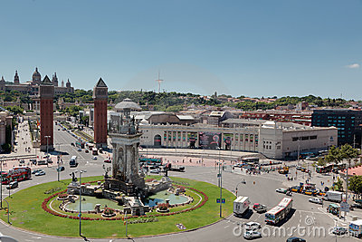Plaça d Espanya (Plaza de Espana), Barcelona Editorial Stock Photo