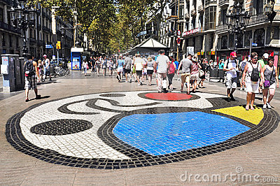 Pla de l Os mosaic in Las Ramblas in Barcelona Editorial Stock Photo