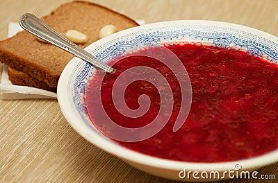 Plaat met soep