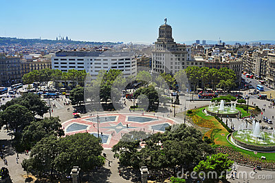 Placa Catalunya in Barcelona, Spain Editorial Photography