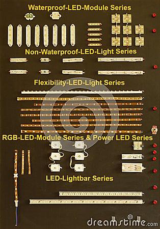 Placa da demonstração com módulo do diodo emissor de luz