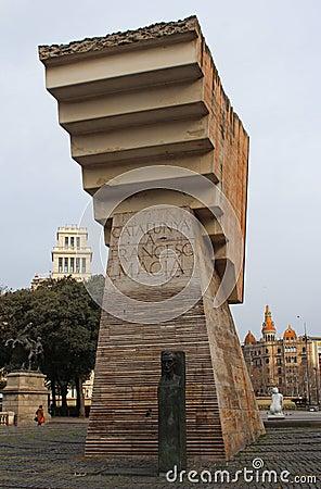 Placa de Catalunya/卡塔龙尼亚广场 编辑类库存照片
