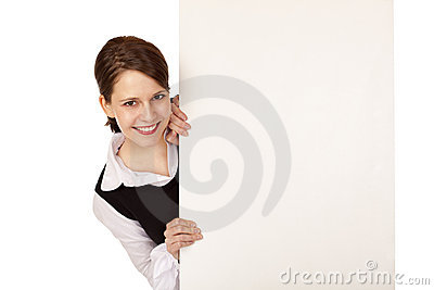 Placa de propaganda do espaço em branco da mulher de negócio