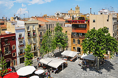 Placa del Rei and old town of Tarragona, Spain Editorial Stock Image