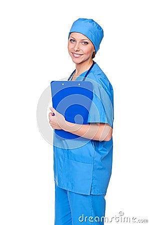 Placa e sorriso de grampo da terra arrendada da enfermeira