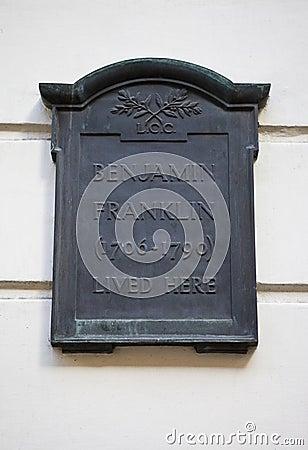Placa en la casa de Benjamin Franklin en Londres Imagen editorial
