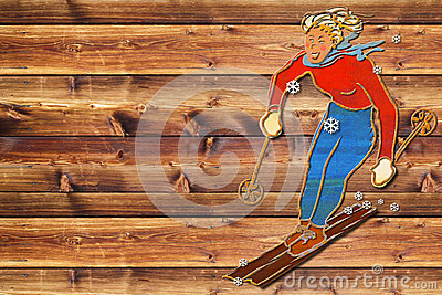 Placa fêmea da obscuridade do esquiador