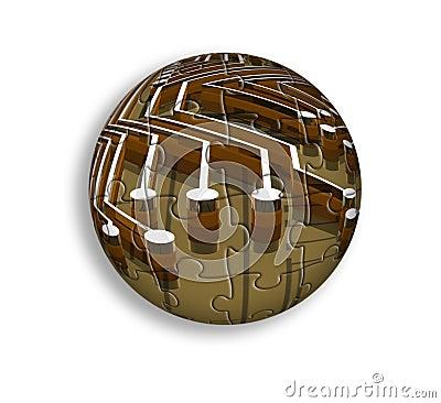 Placa madre - bola - rompecabezas