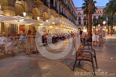 Placa Reial, Barcelona, Spain Editorial Stock Photo