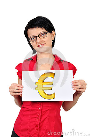 Placard with euro symbol