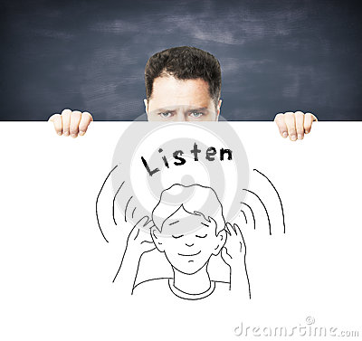 Placard with listen concept