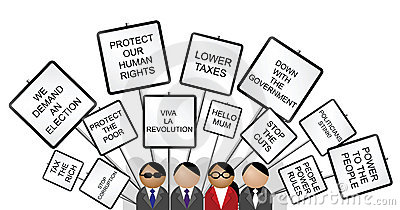 Placards against the government