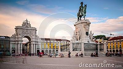 Place commerciale à Lisbonne, Portugal banque de vidéos