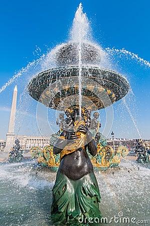 Place de la concorde fountain paris city France