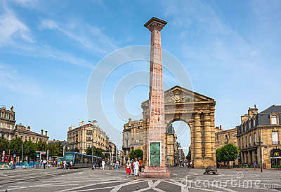 Place de la Victoire near Porte d Aquitaine in Bordeaux Editorial Photography