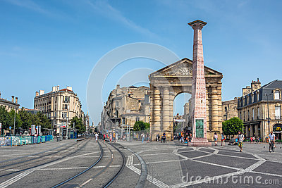Place de la Victoire near Porte d Aquitaine in Bordeaux Editorial Stock Image