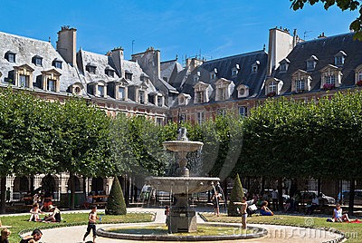 Place des Vosges Fountain Paris France Editorial Photography
