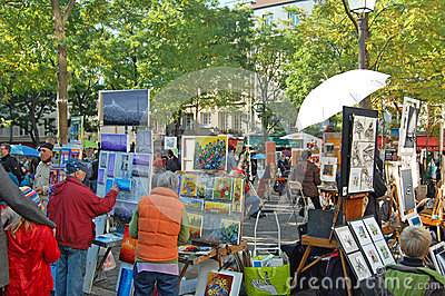 Place du Tertre Artists Editorial Stock Photo