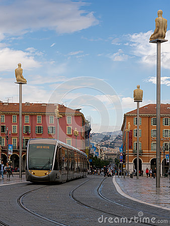 Place Massena,Nice, France with modern public tran Editorial Photo