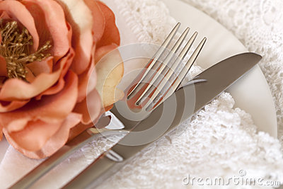 Place Setting with Flower and Lace