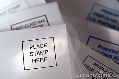 Place Stamp Here Placemat on Return Mai Envelope