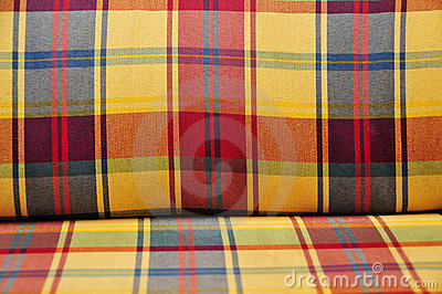 Plaid cushioned textile