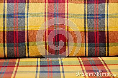 Plaid cushioned textile