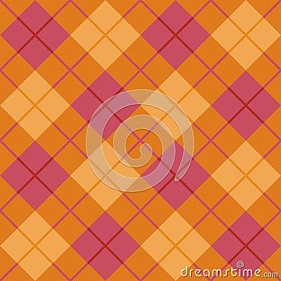 Plaid diagonale in arancio e nel colore rosa