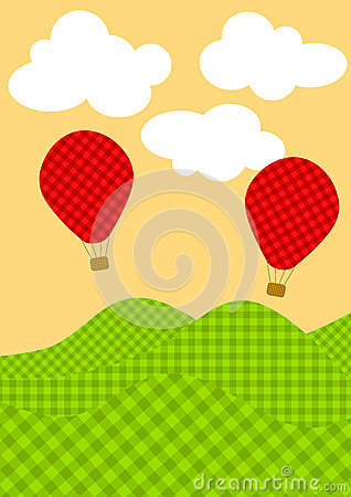 Free Plaid Hot Air Balloons Greeting Card Stock Images - 25986884