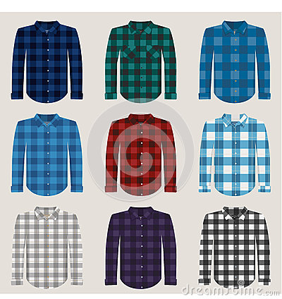 Free Plaid Patterned Shirts For Men Vector Set Royalty Free Stock Images - 55774279
