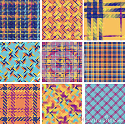 Plaid patterns color set