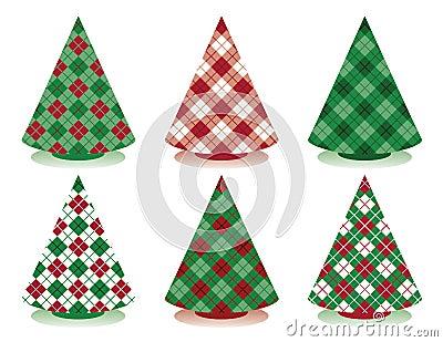 Plaid-Weihnachtsbäume