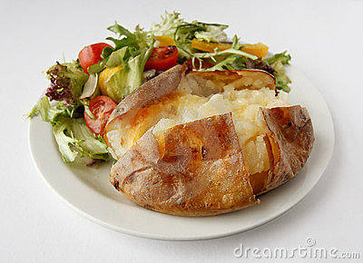 Plain Butter Jacket Potato with side salad