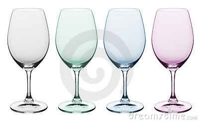 Plain & colored wine glass
