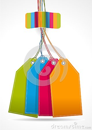 Plain colorfull tags with rainbow sticker