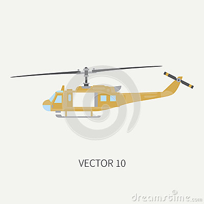 Free Plain Flat Color Vector Icon Military Turboprop Transportation Helicopter. Army Equipment And Armament. Retro Copter Royalty Free Stock Image - 92589106