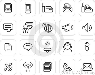Plain icon set: Communication