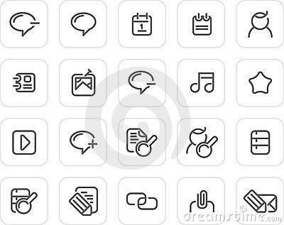 Plain icon set: Internet and Blog