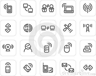 Plain icon set: Wireless and Technology