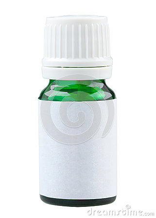 Plain label green glass medicine bottle