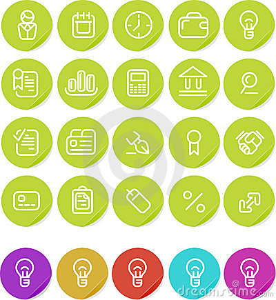 Plain stickers icon set: Business