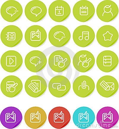 Plain stickers icon set: Internet blogging
