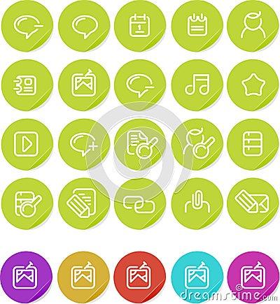 Plain stickers icon set: Internet blogging