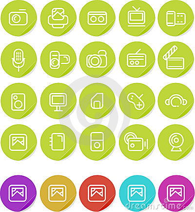 Plain stickers icon set: Media