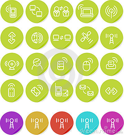 Plain stickers icon set: Wireless and Networking