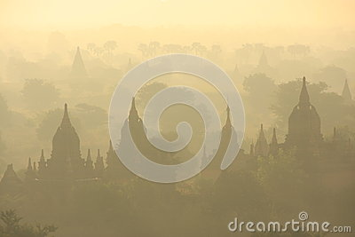 Plains of Bagan in morning mist, Bagan, Mandalay r